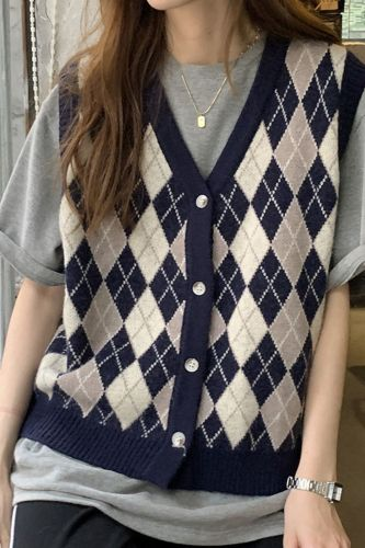 Sweater Vest Women Argyle Simple Loose Casual Classic Elegant Single Breasted Plus Size Jumpers Retro Trendy Chic College Womens