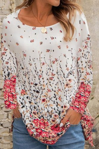 Summer Casual Tee Short Sleeve Women T-Shirts Flower Print Tops Plus Size Top Pullover Female Round Neck Loose T-Shirt