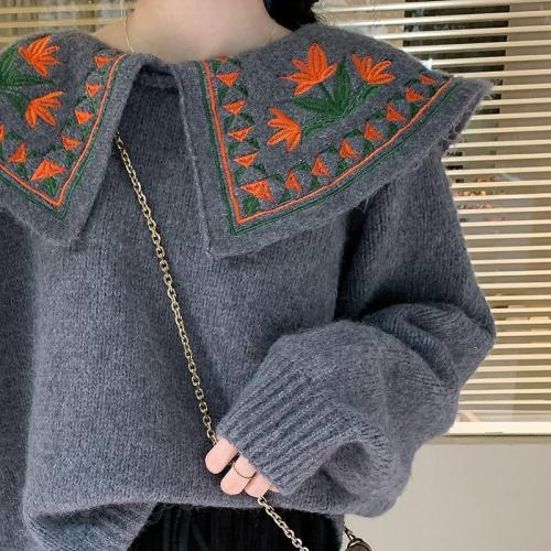 Warm Thick Sweaters Korean Vintage Flower Embroidery Peter Pan Collar Knitted Pullovers Japanese Sweet Sueter Mujer