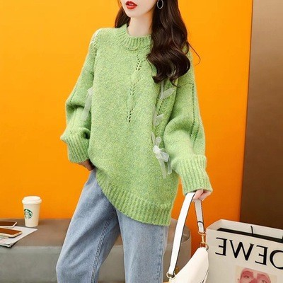 Loose Lazy Style Pullover Sweater Women'S Autumn And Winter 2021 New Korean Version Of The Age-Reducing Design Sense Wearing Knitted Top