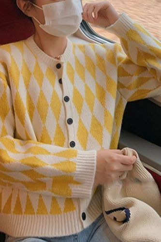 Cardigan Women Design Argyle Stylish Lazy Style Vintage All-match Spring Hot Sale Ladies Clothes Lovely Friends Minimalist Cozy