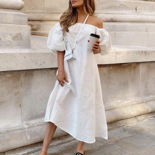 Summer 100% Cotton Dress Woman Vintage Puff Sleeve A Line Dresses Off Shoulder High Waist Midi Dress White Sexy Dress 2021