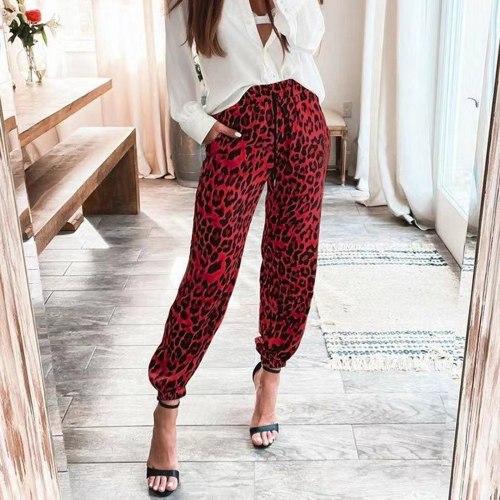 2021 New Women Loepard Pants Long Trousers Harajuku Women Clothing Mid Waist Pockets Korean Female Streetwear pantalon femme