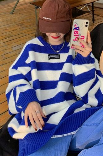 New Autumn Winter Harajuku Sweaters Vintage O Neck Long Sleeve Thick Knit Pullover Oversize Striped Sweater