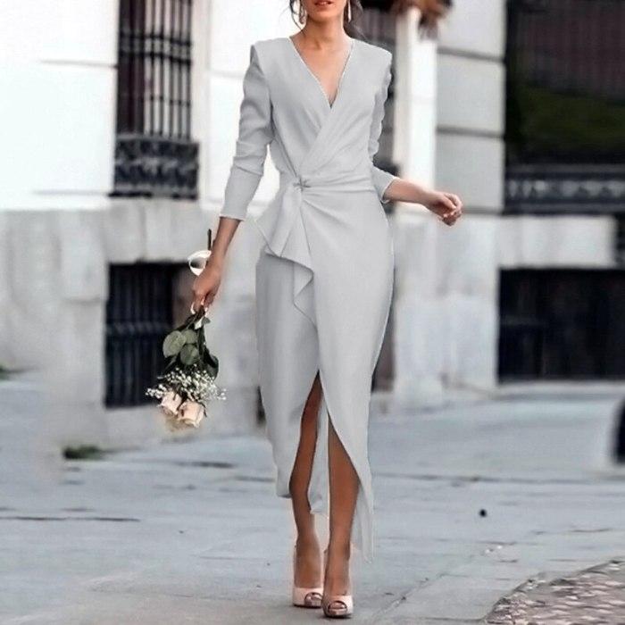 Womens Autumn Elegant Long Dress 2021 Fashion Long Sleeve Ladies Solid V Neck Vestidos Casual Dresses For Women Party Dress