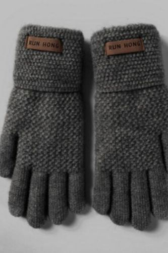 Unisex Winter Wool Knit Double Layer Thicken Elastic Nonslip Cycling Mittens Men Touch Screen Warm Full Finger Driving Glove H96