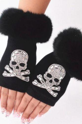 Women Cartoon Animals Fox Fingerless Dance Gloves Winter Warm Short Plush Diamonds Sequins Skull Fingerless Knitted Gloves G102