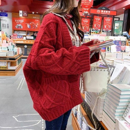 Women Loose Sweaters Winter Cardigans Knitting Rhombus Horn Buckle Thick Loose All-match Students Autumn Korean Oversize Ulzzang