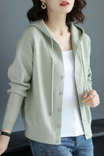 Women 2021 Spring Autumn Casual Hooded Thin Knitted Sweater Female Loose Cardigans Coat New Ladies Solid Outerwear  NS4637