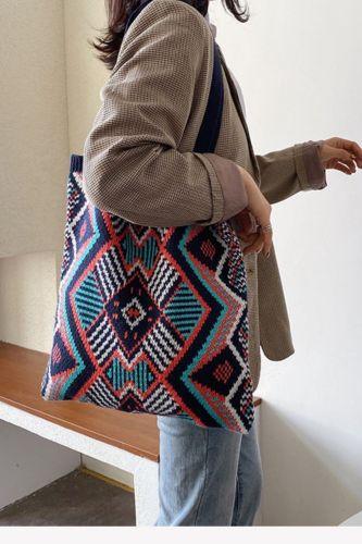 Large Capacity Gypsy Bohemian Chic Tote Bag Lady Knitting Handbag 2021 Female Daily Shopping Bag Casual Crochet Soft Shopper Bag