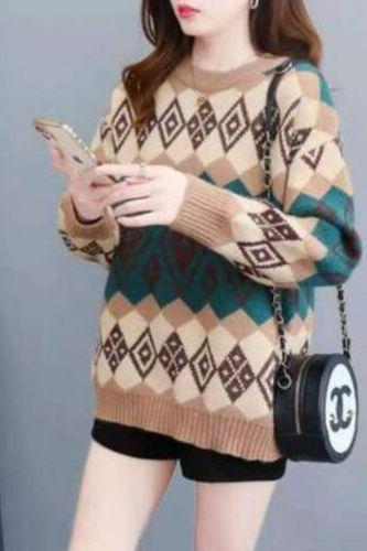 Retro Autumn And Winter 2021 Sweater Women'S Jacket Korean Version Of The Diamond Lattice Lazy Knit Top Loose Bottom Sweater