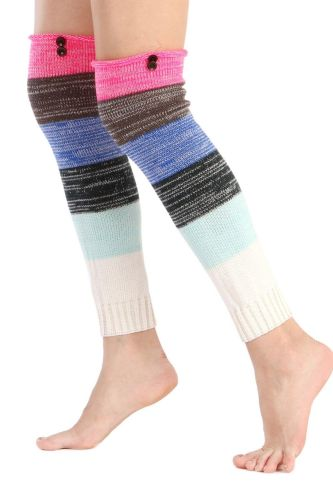 1 Pair Women Autumn Winter Warm Leg Warmers Cable Knit Knitted Crochet Colorful Ladies High Long Warm Knee Socks For Thigh Boots