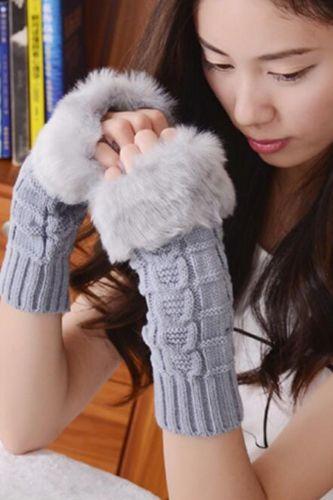 Fashion Winter Women Gloves Plush Faux Fur Knitting Wool Keep Warm Mitten Fingerless Lady Girl Half Finger Gloves Christmas Gift