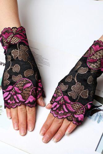 Fashion Sexy Summer Female Half Finger Sunscreen Short Lace Gloves Women Driving Rose Flower Pattern Fingerless Sun Gloves