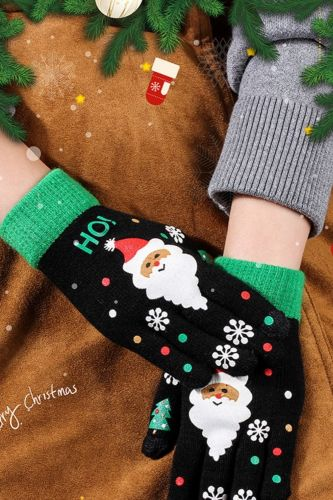 Women Autumn Winter Gloves Cute Santa Claus Printed Full Fingers Girls Warm Touch Screen Mittens Student Children Christmas Gift