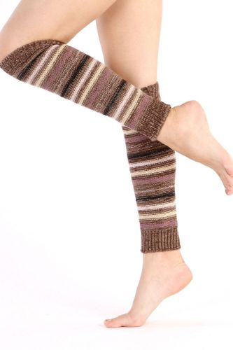 Women Striped Knitted Leg Warmers Winter Footless Knee High Fashion Boot Socks