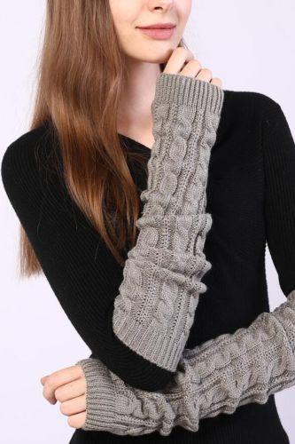 New Women Arm Warmers Winter Black Gray Lengthen Arm Gloves Knitting Sleeve for Women Twist Arm Warmers Gloves Winter Sleeve