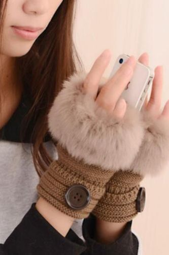 Plush Button Fingerless Gloves Women Winter Knitted Wrist Keep Warm Solid Patchwork Gloves Women Accessories Winter Gloves