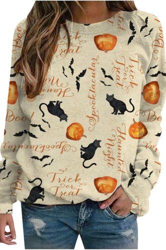 Women Pullover Tops Sweatshirt Women Halloween Print Shirt Long Sleeve Sweatshirt Loose Pullover Top Blouse Tee Top Female
