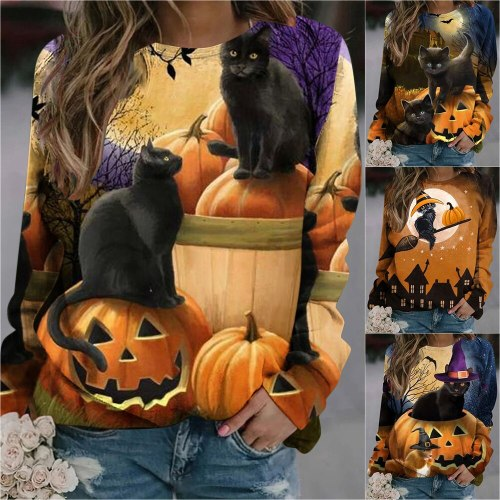 2021 Autumn New European and American Women's Long Sleeve Sweater Casual Blouse For Ladies Animal Cat Print Top Street Fashion