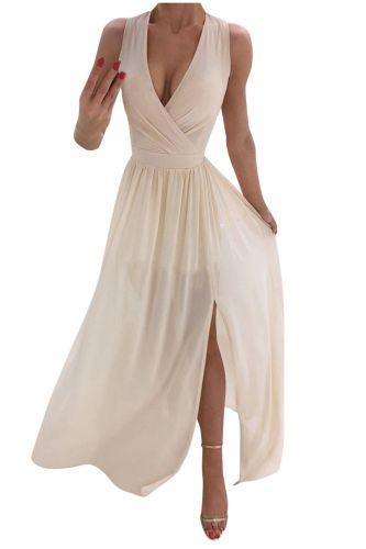 2021 Fashion Ladies Sexy Women Beach Sexy Deep V-Neck Dresses Summer Party Sleeveless Casual A-Line High Slits Midi Formal Dress