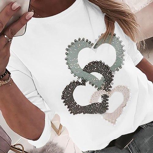 40#Women T-Shirts Heart Print Nail The Beads O-neck Long Sleeves Loose Tops Spring Harajuku Elegant Tshirts mujer camisetas