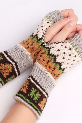 Women Fingerless Wrist Gloves Cute Faux Rabbit Fur Knitted Gloves Winter Thick Warm Knitted Warmer Driving Outdoor Mitten