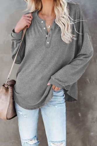 Woman's Top Spring Autumn Solid Color Button V-Neck T-Shirts Long Sleeve T Shirts Women's Clothing 2021 Casual Loose Y2K Tops