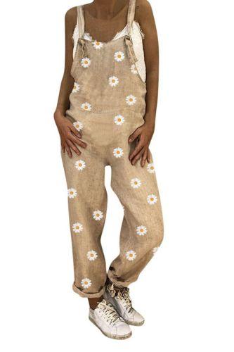 30h Oversized Jumpsuit Women Casual Boho Print Women Romper Long Playsuit Knot Strap Button Bodysuit Jumpsuit Dropshipping
