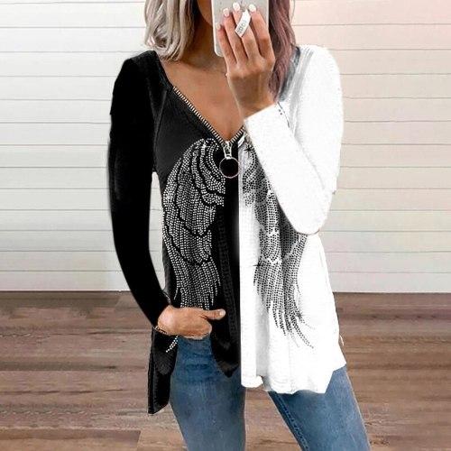 Women Blouse Gothic Wing Print Long Sleeve Zipper V-Neck Shirt Autumn Plus Size Casual Elegant Loose Basic Tee Top рубашка