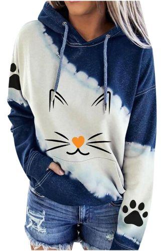 40#Hoodies Cute Cat Print Tie-dye Fashion Women Long Sleeve Color Block Pockets Sweatshirt Hooded Patchwork Harajuku Tops