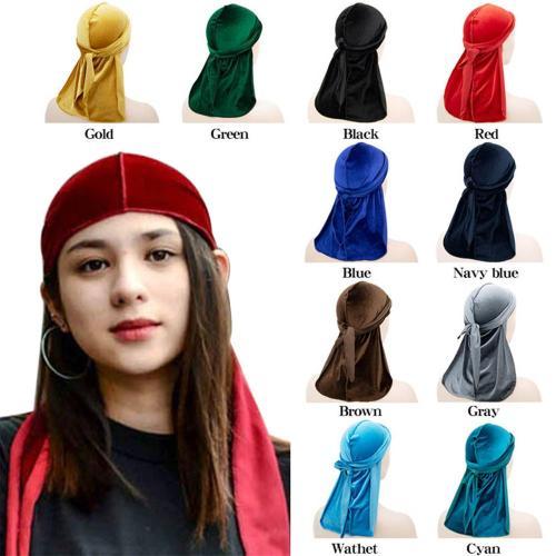 Unisex Women Men Velvet Durag Long Tail Headwrap Bandana Elastic Durags Wave Caps Men's Doo Rag Turban Cap Hip-hop Pirate Hat