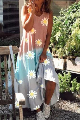 Three Color Block Patchwork Long Party Dress Women Spring Daisy Print Loose Maxi Dress Summer V Neck Sleeveless Tank Beach Dress