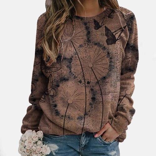 Women Sweatshirts Vintage Fashion O-Neck Flower Butterfly Printed Long Sleeves T-Shirt Sweater Tops Feminino Sweetshirts