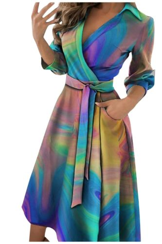 summer dress for Women Tie dye Printing sexy V Neck half sleeve lace up midi long Dress Formal Dress Women Elegant Vestido Robe