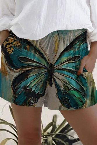 Women's Shorts Summer Casual Vintage Flowers Animal Printed Shorts High Waist Loose shorts for girls Soft Cool female shorts