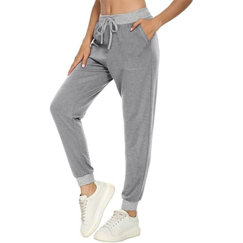 Women Sport Pants Long Pants Women's Drawstring Sportswear Lady Gym Sports Casual Loose Fitness Running Gray Trousers Pants