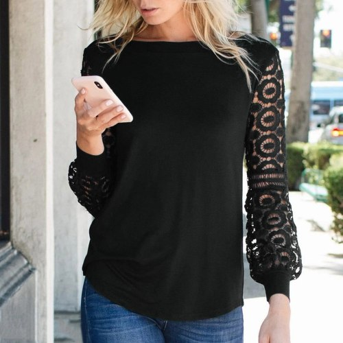 40#Women Blouses Casual Lace Patchwork O Neck Long Sleeve Shirts Blouse Tops Hallow Out Solid Pullover Elegant Vintage кофта