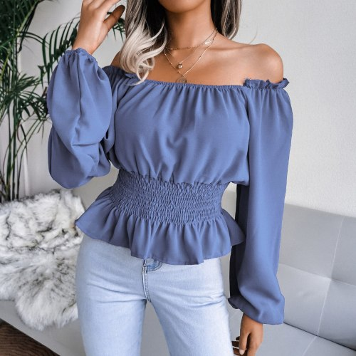 Sexy Off Shoulder Blouse Women Clothing Casual Slash-neck Solid  Long Sleeve Color Block Shirts Tops Elastic Elegant Blouse