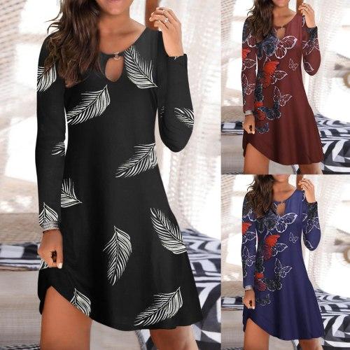 Women Bohemian Dress Autumn Loose Printed long Sleeve Sundress Ladies Beach Vestidos Plus Size A-Line Spaghetti Strap Mini Dress