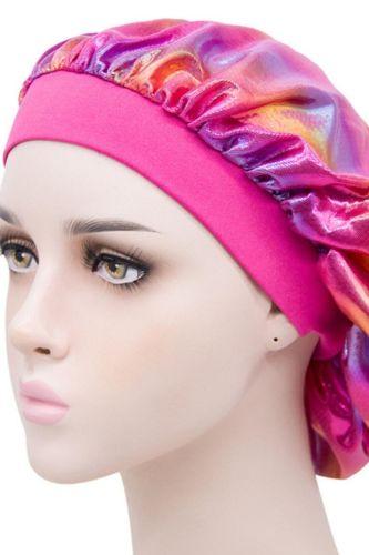 Women Wide-brimmed Colorful Laser Sleeping Hat Night Sleep Cap Hair Care Bonnet Men Unisex Cap bonnet Shower Cap Silk Head Wrap