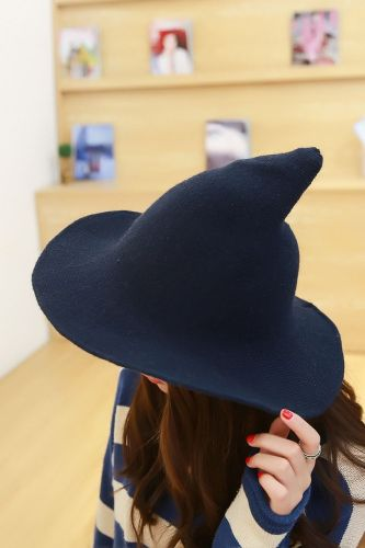 2021 New Modern Halloween Witch Hat Woolen Girl Lady Made From Fashionable Sheep Wool Halloween Party Lady Girl Witch Hat