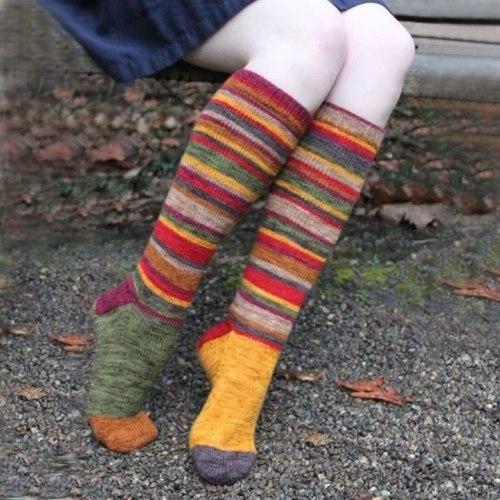 Multicolor Striped Women Long Socks Cotton High Elastic Socks For Girls Students College Style Rainbow Women's Socks Носки