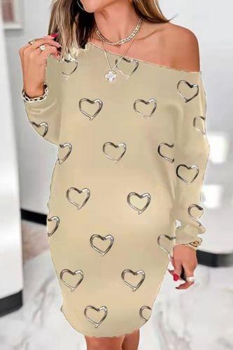 Women'S Autumn Shirt Dress Round Neck Print Dress Shirt Women Long Sleeve Loose T-Shirt Dress