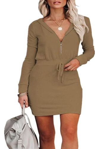 New 2021 Autumn Winter Women's Solid Color V neck Long Sleeve Zipper Hooded Tunic Dress Casual Elegant Sexy Fashion Tshirt OL Dr