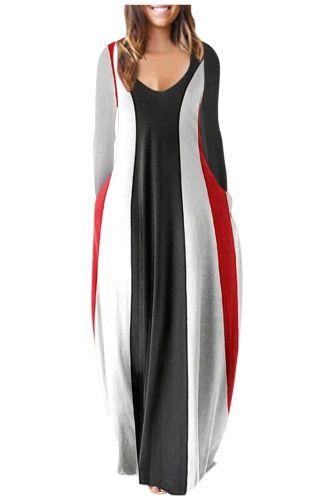 Women Maxi Dress Autumn Casual V-neck Floral Print Long Dress Fashion Pockets Long Sleeve Loose Female vestidos mujer Fashion