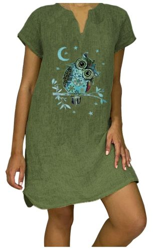 Linen Shirt Dress Women Summer 2021 Women'S Fashion Loose Sundress Cartoon Print Short Sleeve V-Neck Cotton Linen Dress Vestidos