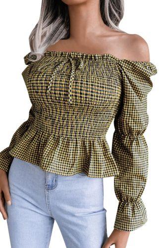 Women Blouse Shirts Plaid Print Casual Sexy Slash-neck Long Sleeve Elastic Block Tops Autumn Elegant Plus Size Office Lady Shirt