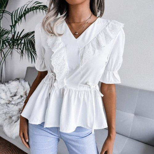 Women Blouse Lace Ruffles Short Sleeved V Neck Solid Elegant Casual Flapper Blouse Summer Plus Size Korean Office Shirts
