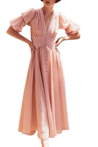 Evening Party Prom Dress For Women 2021 Fashion Summer Women Short Sleeve V-Neck Soild Casual Ankle-Length Dress French Romantic